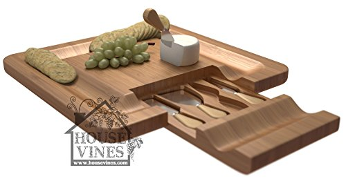 Deluxe Bamboo Cheese and Cracker Serving Tray with Hide-Away 4 Piece Utensil Set ~All Natural Bamboo Board ~ Wine and Cheese party tray ~ Includes Sample Wine Glass Charm ~ By HouseVines (Cheese Board Tray compare prices)
