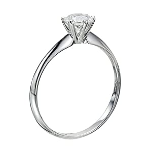 GIA Certified 14k white-gold Round Cut Diamond Engagement Ring (0.40 cttw, I Color, SI1 Clarity)
