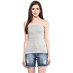 Ajile by Pantaloons Women's Casual Solid Tube Top (205000005573229_Grey Melange_ L)