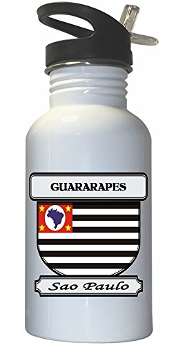 guararapes-sao-paulo-city-white-stainless-steel-water-bottle-straw-top