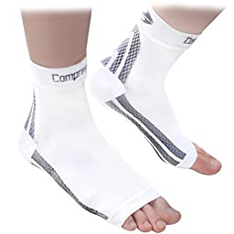 Foot Sleeves (1 Pair - White M) Best Plantar Fasciitis Compression for Men & Women - Heel Arch Support/ Ankle Sock