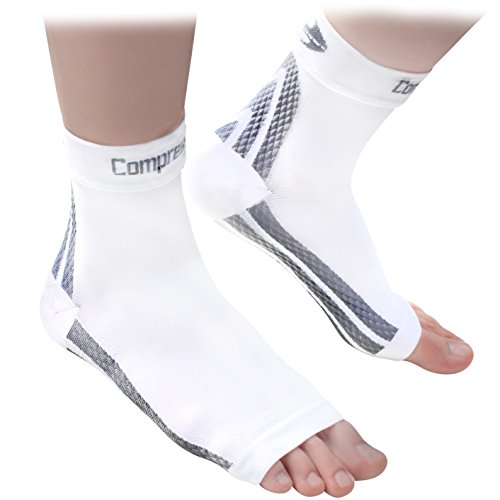 Foot Sleeves (1 Pair - White L) Best Plantar Fasciitis Compression for Men & Women - Heel Arch Support/ Ankle Sock (High Heel Insulated Cup compare prices)