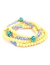 Blissdrizzle Blue & Off-White Pearl Chain Bracelet(PCMFT-Bl)