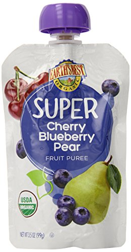 Earth's Best Organic Super Puree, Cherry, Blueberry & Pear, 3.5 Ounce Pouch (Pack of 12)