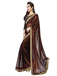 SayShopp Fashion Women's Saree with Blouse Piece (Brown)