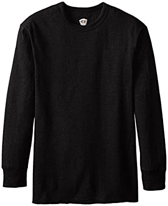 Duofold Men's Mid Weight Thermal Wicking Long Sleeve Shirt, Black, Small