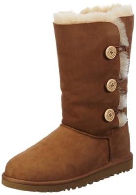UGG Big Kids Bailey Button Triplet Boot Chestnut Size 13