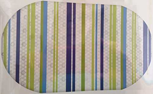"Blue and Green Stripes Printed Bubble Bathtub Mat - 16"" X 28"""