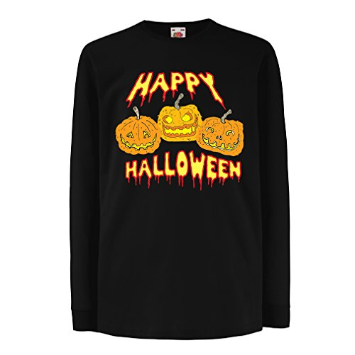 Funny t shirts for kids Long sleeve Happy Halloween! (7-8 years Black Multi Color) (Pinky Pie Adult Shirt compare prices)
