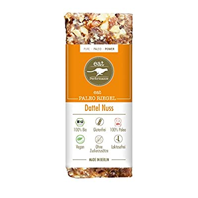 Paleo Bar Dates & Nuts (10x 40g) by eat Performance (organic & vegan cereal bar, no added sugar, gluten free, lactose free, superfood)
