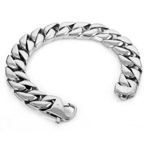 Justeel Jewellery Silver Huge Heavy 316L Stainless Steel Men Wrist Chain Bangle Bracelet
