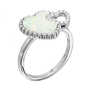 Sterling Silver Rhodium Plated Double Opal And CZ Heart Ring (7)