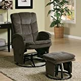 # 600159 2PC Modern Swivel Gliding, Rocking Recliner Chair With Metal Ottoman In Choco...