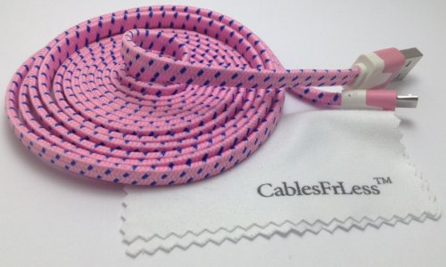 Cablesfrless (Tm) 6Ft Flat Braided Micro Usb Charging / Data Sync Cable Fits Most Android Phones And Tablets Samsung Galaxy S3 S4 Reverb Note Tab Google Nexus Kindle Nokia Lumia Htc One Asus Lg G2 Pantech Blackberry Motorola Sony Xperia Etc. (Pink)