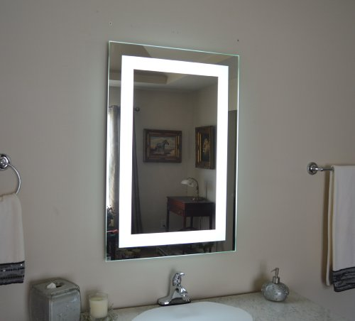 wall mounted lighted vanity mirror led mam82436 commercial grade 24 wid. Black Bedroom Furniture Sets. Home Design Ideas