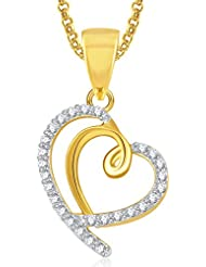 Meenaz Gold Plated Heart Pendant With Chain For Girls And Women PS376