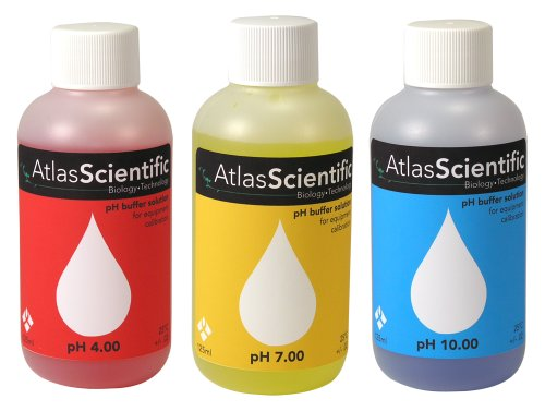 Atlas Scientific pH Calibration Solution Kit 4.0, 7.0, and 10.0 - 4 Oz Bottles