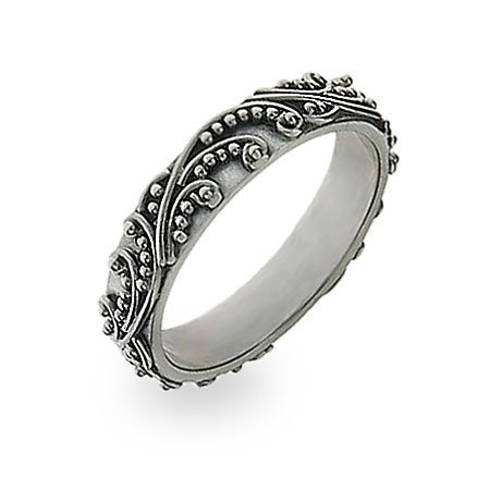 Sterling Silver Stackable Ring in Bali Design Size 5 (Sizes 5 6 7 8 9 Available)
