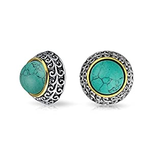 Bling Jewelry Bali Style Braided Two Tone Simulated Turquoise Dome Clip On Earrings Gold Plated