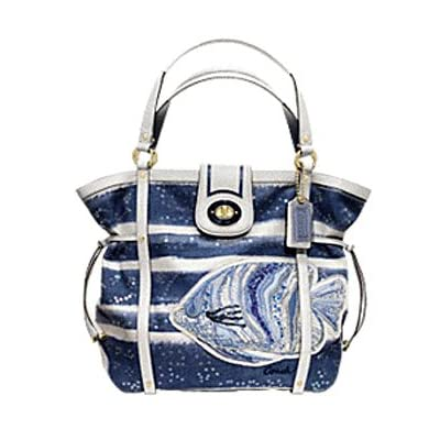 : Coach Limited Edition Watercolor Audery Resort Blue Fish Canvas Bag ...