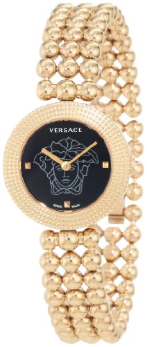 Versace Women's 94Q80D008 S080 Eon Soire Gold IP Black Dial Sapphire Crystal Sphere Stainless Steel bracelet Watch