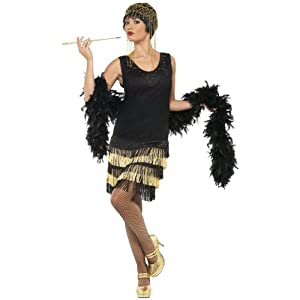 Smiffy's 20s Fringed Flapper Costume, Black/Gold, Large