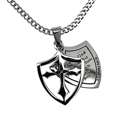Christian Mens Stainless Steel Abstinence 2 Piece Shield Man of God