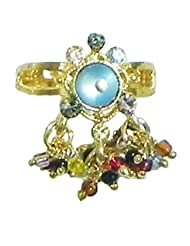 Blue Stone Studdd Adjustable Ring With Beaded Jhalar - Stone And Metal