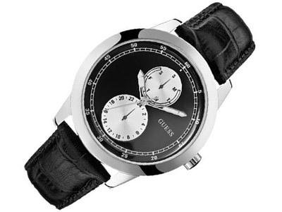 Guess Diameter Men's Quartz Watch with Black Dial Analogue Display and Black Leather Strap W75065G1