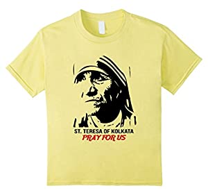 Kids Mother Saint Teresa Shirt - Portrait Pray Shirt 12 Lemon