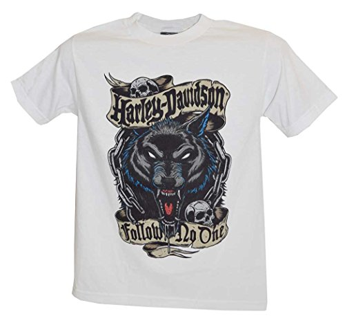 Harley-Davidson Men's T-Shirt, Follow Wolf Short Sleeve Tee, White 30293451 (S)