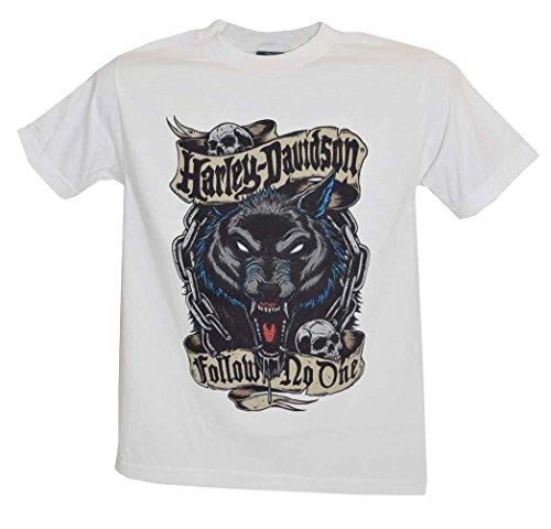 Harley-Davidson Men's T-Shirt, Follow Wolf Short Sleeve Tee, White 30293451 (S)