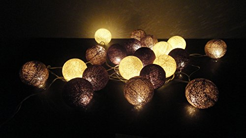 20 Led Cotton Ball Fairy String Lights Party Wedding Home Decor (Coffee Tone)