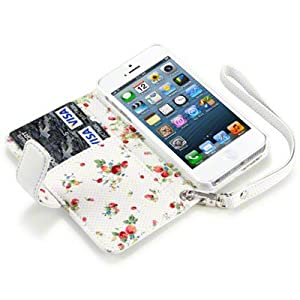iPhone 5 Premium PU Leather Wallet Case / Cover / Pouch / Holster With Floral Interior - White