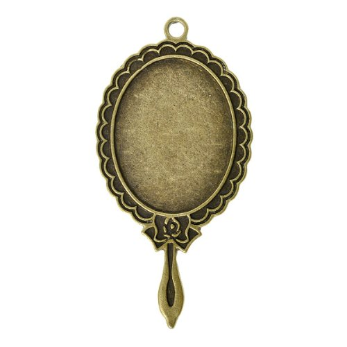 2pcs Vintage Antique Brass Bronze Oval Cabochons Settings Pendants Cabochon Cameo Settings Frames Blanks Bases Findings73x37mm U-TS7440