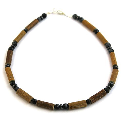 "Hazelaid (TM) Child Hazelwood-Gemstone Necklace - 11"" Black Obsidian"