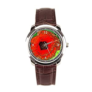 sanYout Leather Mens Watch Blossom Leather Wristband Watch Poppy Sports Wrist Watch Gorgeous