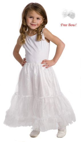 Little Adventures Fullness Slip Skirt for My Cute Dressups Princess Dress Up Costumes, size Small (1-3), w/ Free Bow!