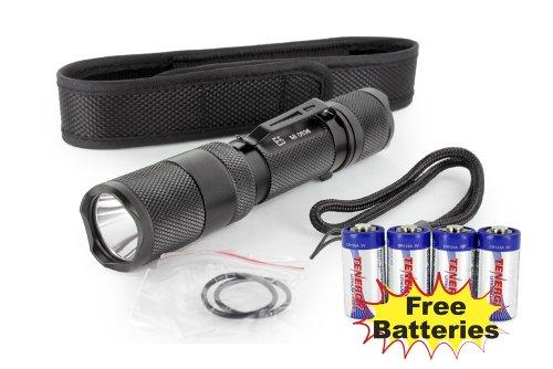 Combo: Powertac E5 Led Flashlight With Cree Xm-L Led 950 Lumens + 4 Tenergy Cr123A Batteries