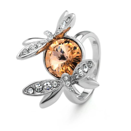Neoglory Fashion Jewelry Dragonfly Rings Platinum Plated with Swarovski Element Crystal and Rhinestone Jewellery Christmas Partywear Jewelry
