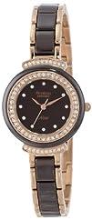 Armitron Women's 75/5038BNRG Swarovski Crystal Accented Brown Ceramic Link Rosegold-Tone Bracelet…