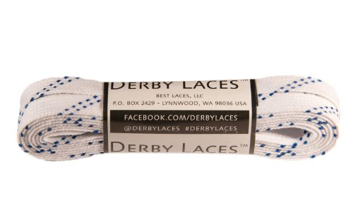 White 72 Inch Waxed Skate Lace - Derby Laces for Roller Derby, Hockey and Ice Skates, and Boots