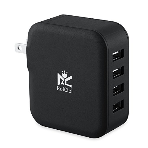 RoiCiel® USB急速充電器Smart機能搭載4.2A (21W)4ポートACアダプタ 折りたたみ式プラグ搭載 iPhoneSE/ 6s/6s Plus iPhone6/5s/5c/5, iPad Air/mini, Galaxy S5/S4/Note 3/2/Tab/Nexus, 他のスマートフォンやタブレット Wi-Fiルーターなどに対応(ブラック)67R24WC-BA