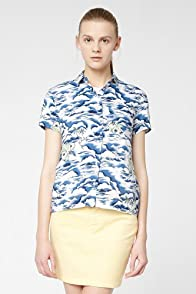 L!VE Short Sleeve Hawaiian Printed Voile Woven Shirt