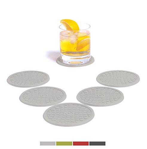 VENDOLO-Glas-Untersetzer-rund-6-er-Set-Farbe-whlbar-Getrnke-Untersetzer-aus-Silikon-fr-Becher-Glser-und-Flaschen-im-Wohnzimmer-in-der-Kche-am-Tisch-und-an-der-Bar-Hell-Grau