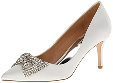 Badgley Mischka Women's Lemonade Dress Pump,White Satin,5.5 M US