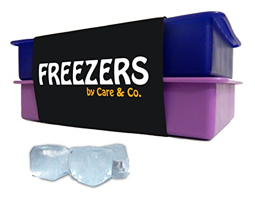 "Perfect Size Silicone Ice Cube Trays, ""FREEZERS"", Set of 2, No Odor or Aftertaste!"