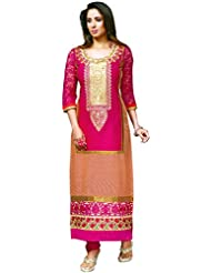 Exotic India Bright-Rose Long Choodidaar Kameez Suit With Printed Checks - Pink