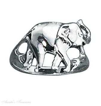 Sterling Silver Elephant Ring Size 8