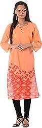Kaashvi Creations Women's Cotton Straight Kurta (99901000000203-S, Peach, Small)